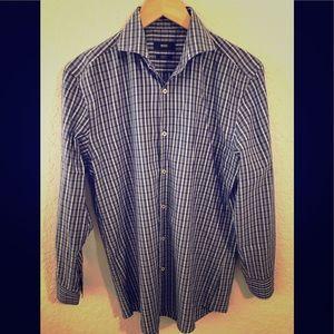 HUGO BOSS Blue & White Checkered Shirt 15.5
